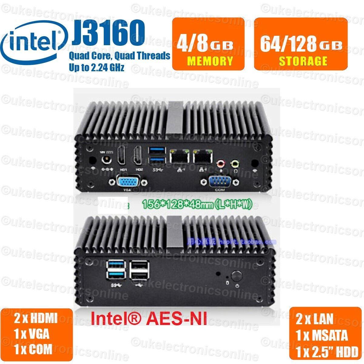 Fanless Mini PC Dual LAN Port, RS232 Intel J1900/J3160 Mini