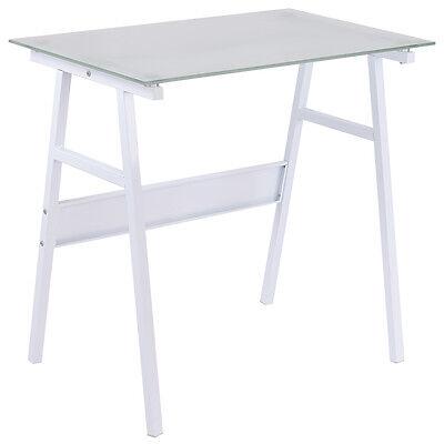 White Computer Desk Writing Table Glass Top Metal Leg Study Decor Home Office
