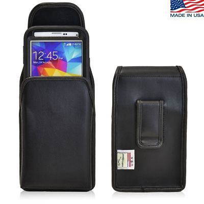 Samsung Galaxy S5 Vertical Leather Holster Black Belt Clip Fits Lifeproof Case (Lifeproof Case Samsung Galaxy S5)