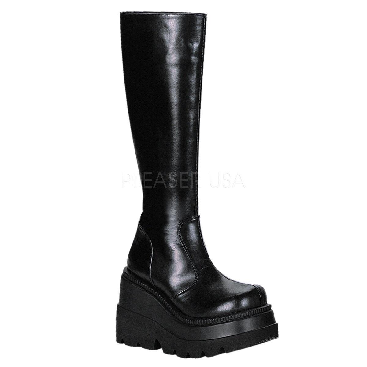 Demonia SHAKER-100 Women's Black Vegan Leather Platform Punk Lolita Knee Hi Boot