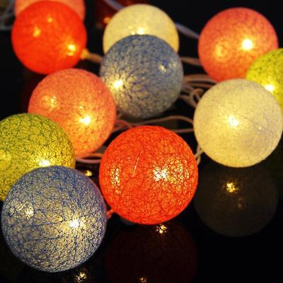 20 LED Cotton Ball String Fairy Plug in Light Party Decor Holiday Xmas-2 Color