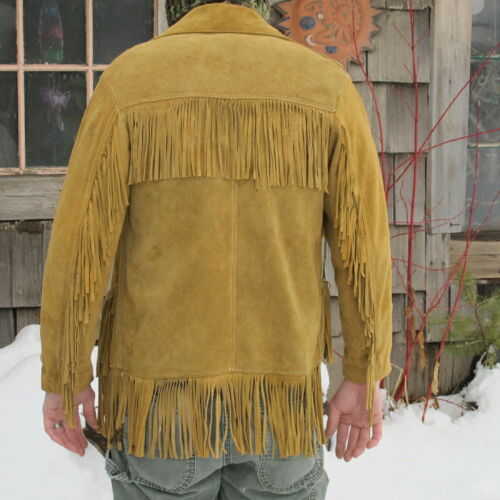 Vintage Buckskin Color Leather Mountain Man Tassel Western Coat Jacket