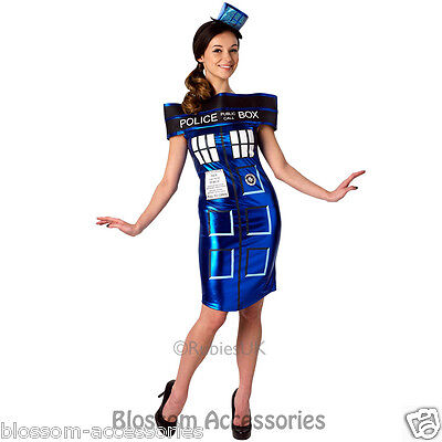 CL324 Dr Who Doctor Tardis Police Box Fancy Dress Up Womens Adult Costume - Tardis Fancy Dress