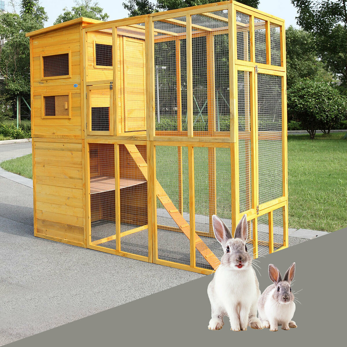 Outdoor Cat Pet House Run Enclosure Wooden Fun Small Animal Shelter Tunnel 29799 Furniture Scratchers