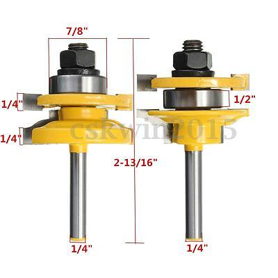 2pcs Rail Stile Router Bit Set 14 Shank Woodworking Chisel Cutter Tool Kit