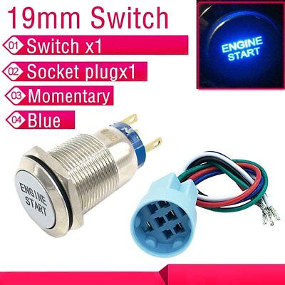 19mm 12V Blue LED Momentary Push Button Metal Engine start Switch Socket plug