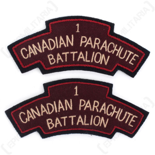 BRITISH Army 1st CANADIAN PARACHUTE BATTALION Shoulder Titles Flashes WW2 Repro