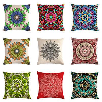 Throw Pillow Case Bohemian Style Mandala Cushion Cover Linen Cotton Home Decor