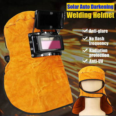 Leather Welding Helmet Mask Solar Auto-darkening Filter Lens Protect Welder Hood