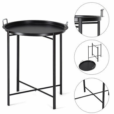 Round Black Metal Tray End Side Sofa Table Living Room Bedroom Patio Furniture ()