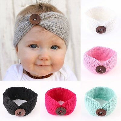 Newborn Baby Girls Toddler Crochet Knit Button Headband Hair Band Accessories