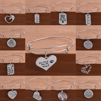 Love Heart Crystal Mom Dad Paw Dog Tag Horse Tree Diy Bracelet Bangles Jewelry