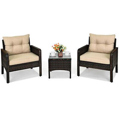 Garden Furniture - 3PCS Outdoor Rattan Conversation Set Patio Garden Furniture Cushioned Sofa Chair