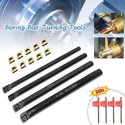 4pcs Sclcr06 Turning Tools Lathe Boring Bar T8 Wrenchs 10 Insert Blade Set