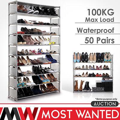 50 Pairs 10 Tier Shelf Portable Metal Pipes Shoe Rack Storage Organizer Stand