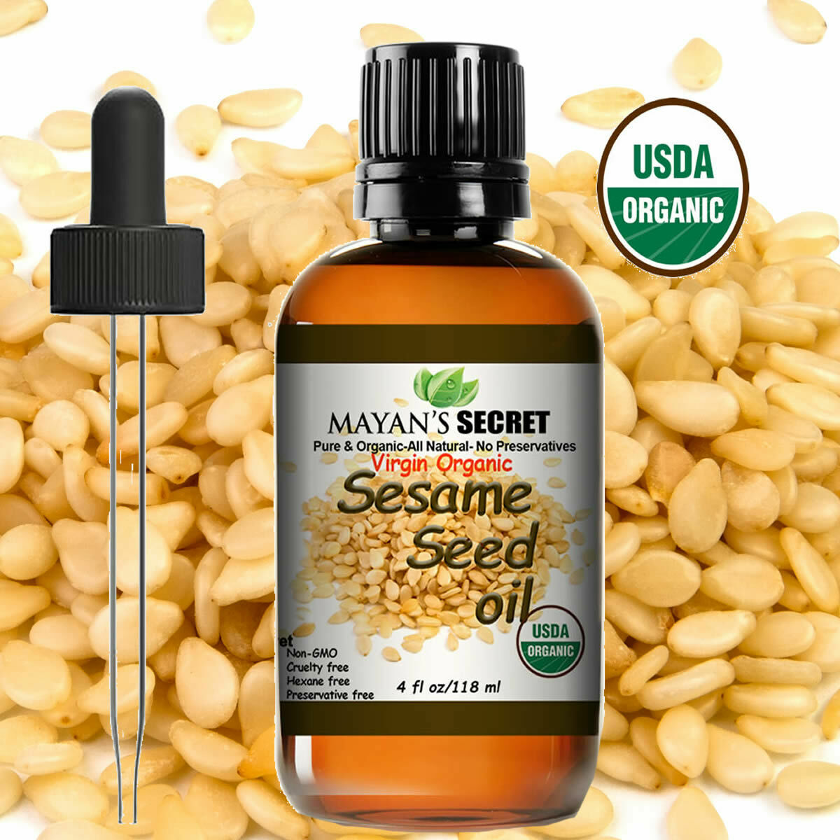 UDSA Certified Organic Sesame Seed Oil Cold Pressed Unrefined  4oz Health & Beauty