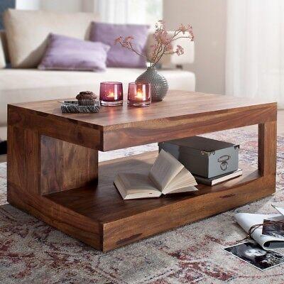 FineBuy Couchtisch Massivholz 90 cm Wohnzimmertisch Sheesham Beistelltisch online kaufen