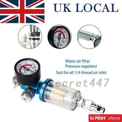 Air Pressure Regulator Gauge Spray Gun & In-Line Water Trap Filter Tool UK Local
