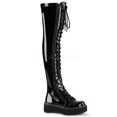 Demonia EMILY-375 Women's Black Patent Platform Stretch Thigh-High Lace-Up (Patent Thigh High Platform Boots)
