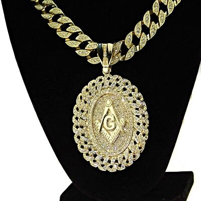Oval Mason Bling Chain Medallion Cuban Masonic Gold Finish 30