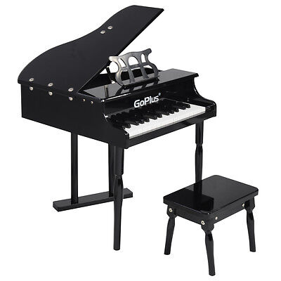 Goplus Childs 30 key Toy Grand Baby Piano w/ Kids Bench Wood Black New