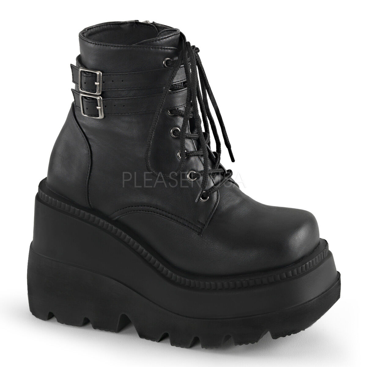 "Demonia 4.5"" Wedge Platform Lace Up Gothic Black Ankle Boots"