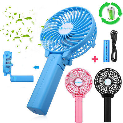 Foldable Handheld Mini Portable Personal Cooling Fan +Rechargeable 18650 Battery