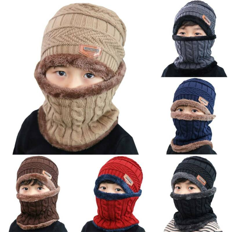 Fleece Beanie Hat Knitted Winter Hooded Caps Scarf Warm for