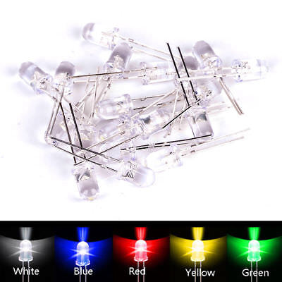 100pcs Led Diodes Assortment Kit Water Clear Red Green Blue Yellow White 3mm