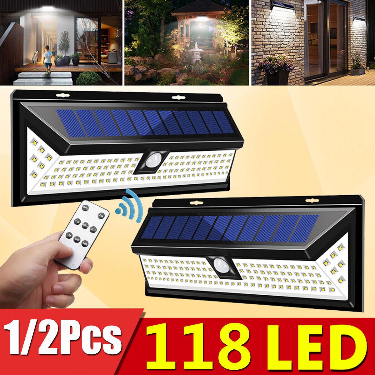 118LED 1000LM Solar Lamp Outdoor Garden Yard Waterproof PIR Motion Sensor Light