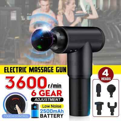 Schwarz 3600r/min Handheld Massage Gun Massagepistole Muscle Massager w/ 4 Köpfe