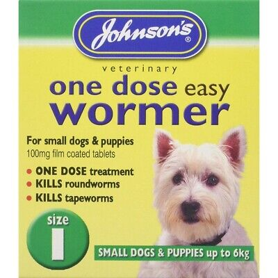 Johnsons One Dose Easy Wormer Dog Worming Tablets Roundworm & Tapeworm Size 1