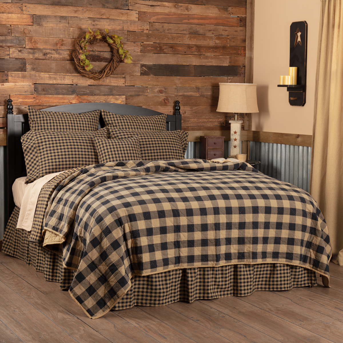 BLACK CHECK QUILTED coverlet -choose size & accessories-Prim