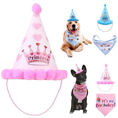 Pet Dog Birthday Bandana Triangle Scarf Hat Neckerchief Set Decoration Party - Dog Birthday Hat
