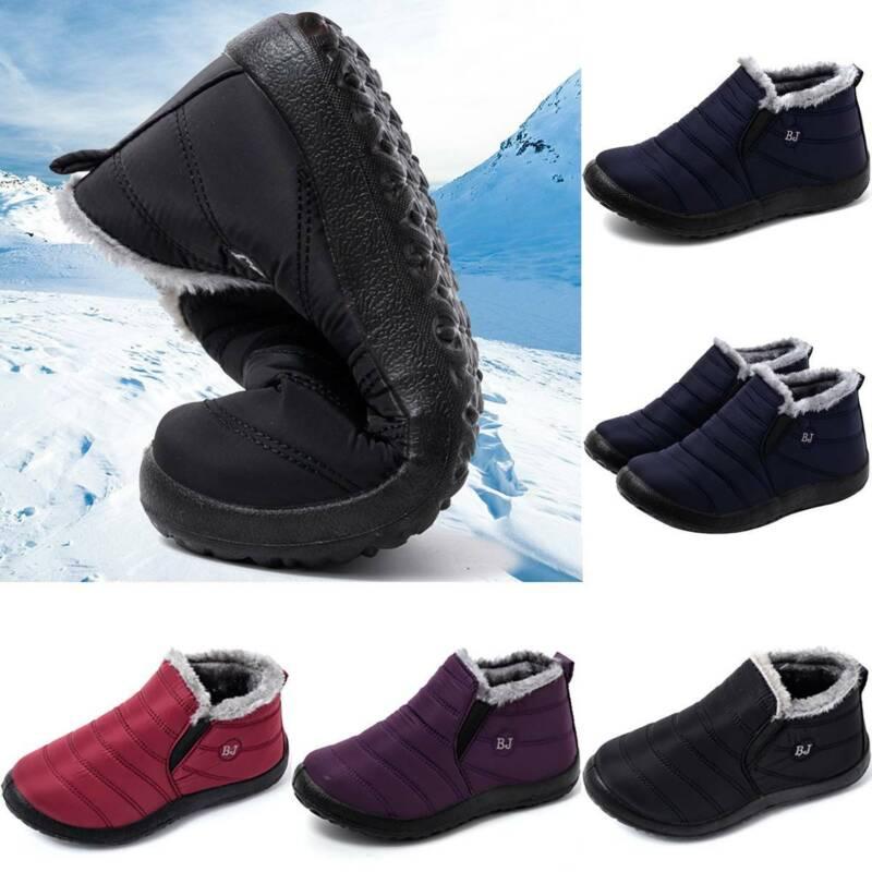 Womens Waterproof Fur Lined Snow Ankle Boots Winter Warm Sli