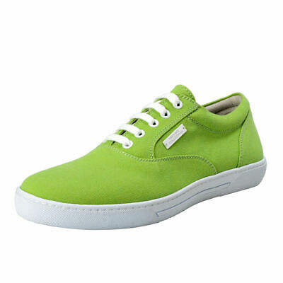 Versace Collection Men's Green Canvas&Leather Fashion Sneakers Shoes US 9 IT 42
