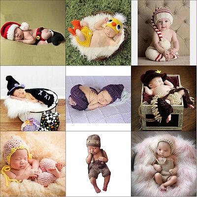 Newborn Baby Uniex Crochet Knit Costume Photo Photography Prop Hats Outfits Sets
