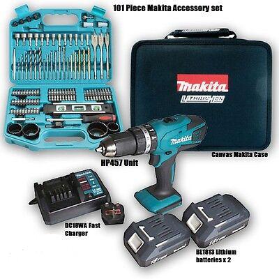 MAKITA 18v Cordless Lithium Combi Drill + 100 makita  accessories
