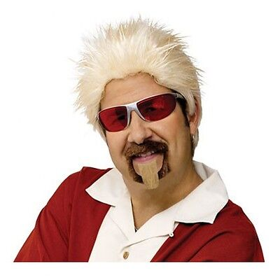 Guy Fieri Wig and Goatee Set Adult TV Celebrity Chef Costume Accessory