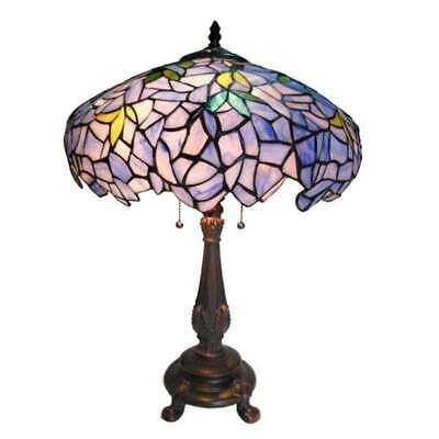 Tiffany Style Table Lamp Flower/ Vines Stained Glass Blue Gold Green Shade 24