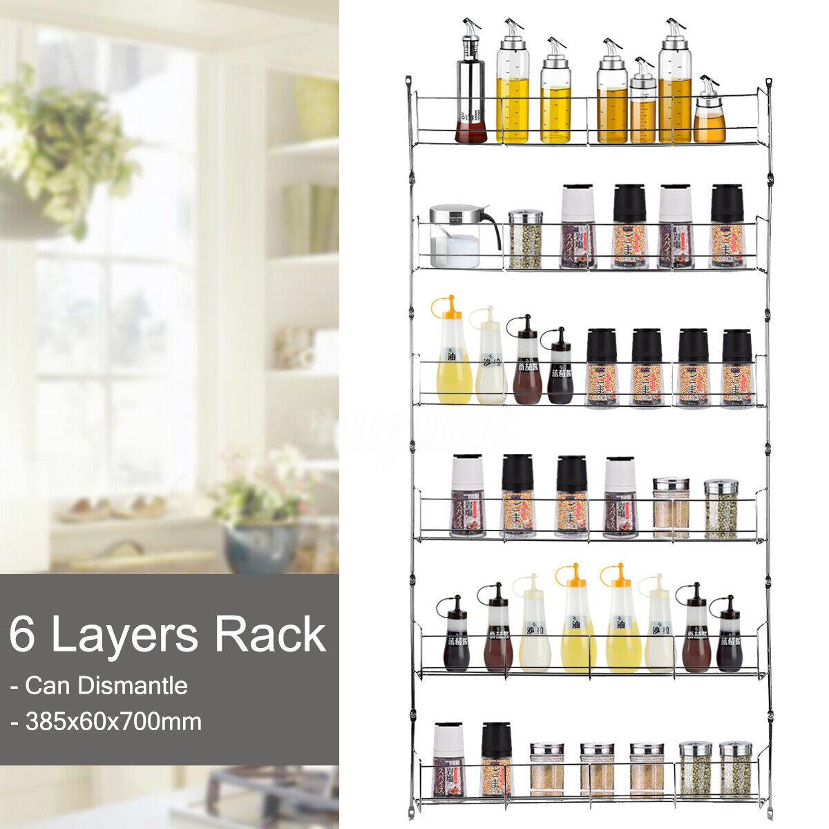 6 Tier Spice Rack Wall Mount Kitchen Door Jar Cabinet Organi