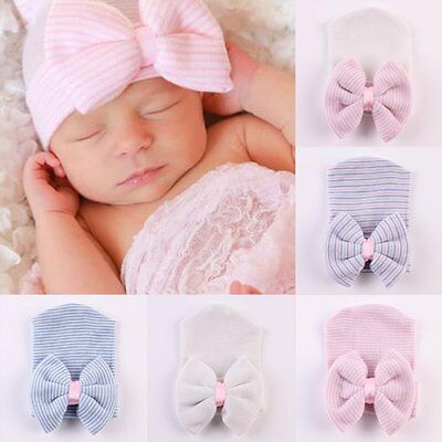 Cute Newborn Baby Infant Girl Toddler Comfy Bowknot Hospital Cap Beanie Hat