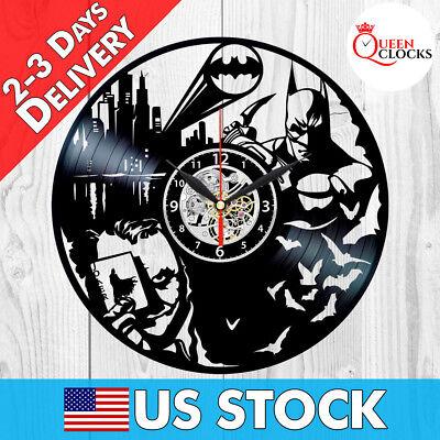 Batman Vinyl Clock Joker Arkham Origins DC Comics Record Wall Best Gift Decor