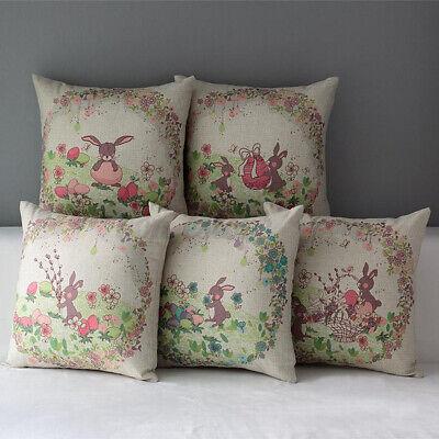 Easter Rabbit Linen Throw Pillow Case Bedding Cushion Cover Home Sofa Decor Home & Garden