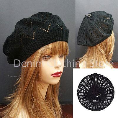 Women Girl Summer Spring Black Winter Crochet Knit Slouchy Beanie Beret Cap Hat (Black Summer Hat)