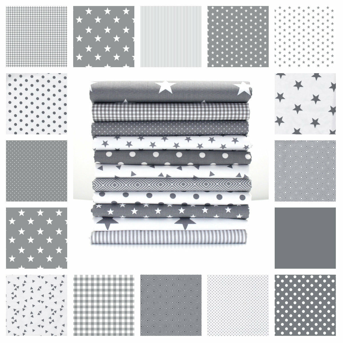 Stars Grey And White Cotton Fabric By The Metre Ex Wide Nursery Boys Oeko Tex