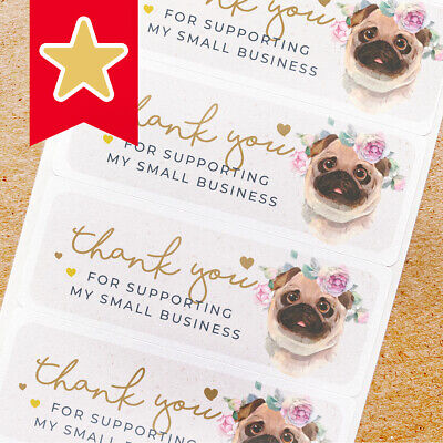 Thank You Labels Stickers For Online Shop Sellers 100ct - Cute Pug Dog