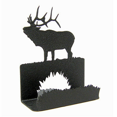 Bugling Elk Black Metal Business Card Holder