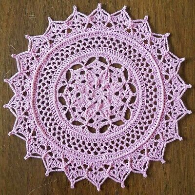 1 Doily Rose (Hand Crochet Textured Doily 8 1/4