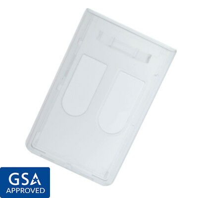 Bulk 100 Pack - Heavy Duty Clear Rigid 2-card Id Badge Holders Hard Plastic